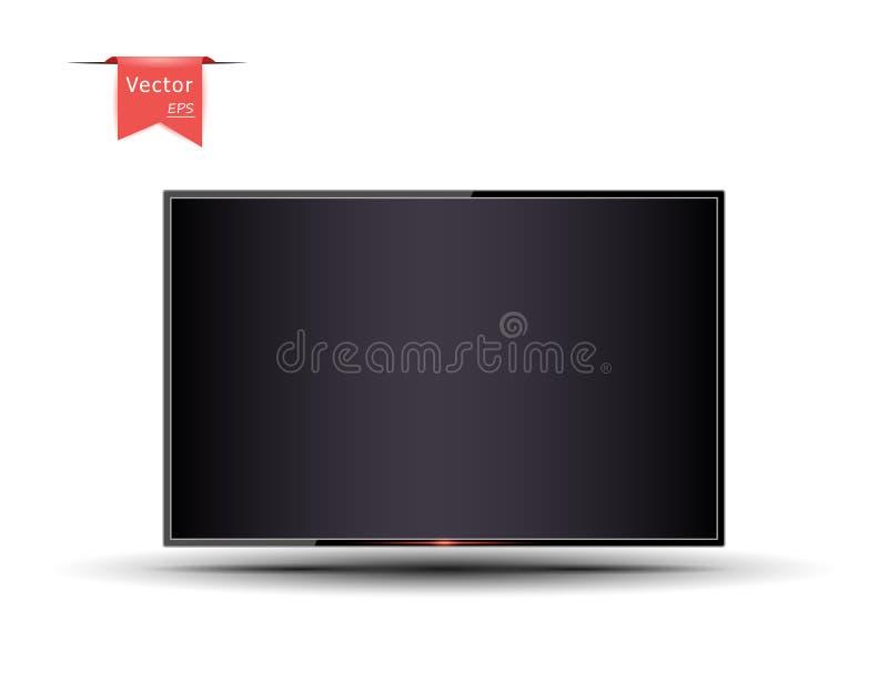 Modernes Fernsehen, dunkler leerer Bildschirm mit Schatten Das Glühen des An-/Aus-Schalter Realistische Art 3D stock abbildung