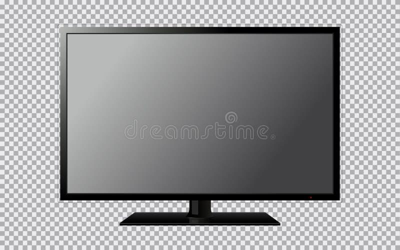 Modernes Fernsehen mit dem leeren Bildschirm lokalisiert auf transparentem Hintergrund stock abbildung