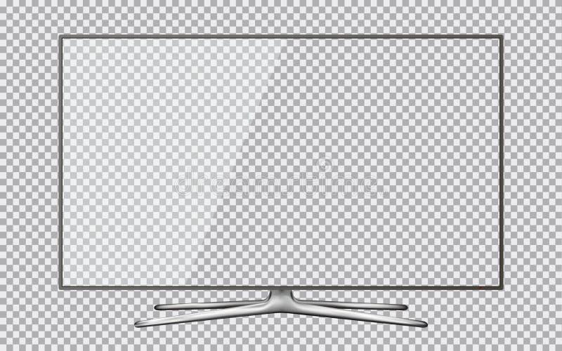 Modernes Fernsehen mit dem transparenten Schirm lokalisiert auf transparentem Hintergrund lizenzfreies stockbild