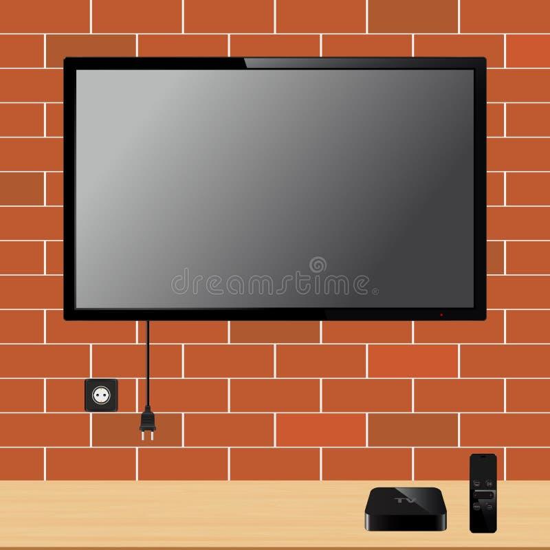 Modernes Fernsehen mit leerem Bildschirm auf Backsteinmauer und Fernsehspieler packen Gerät mit Fernprüfer ein stock abbildung