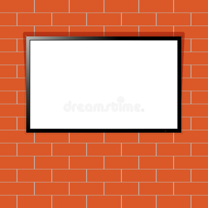 Modernes Fernsehen mit leerem Bildschirm auf Wand des roten Backsteins lizenzfreie abbildung