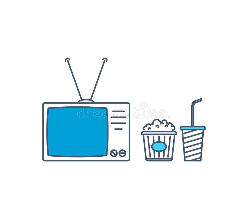 Modernes Fernsehen, Unterhaltung und Freizeit, aufpassende Filme lizenzfreie abbildung