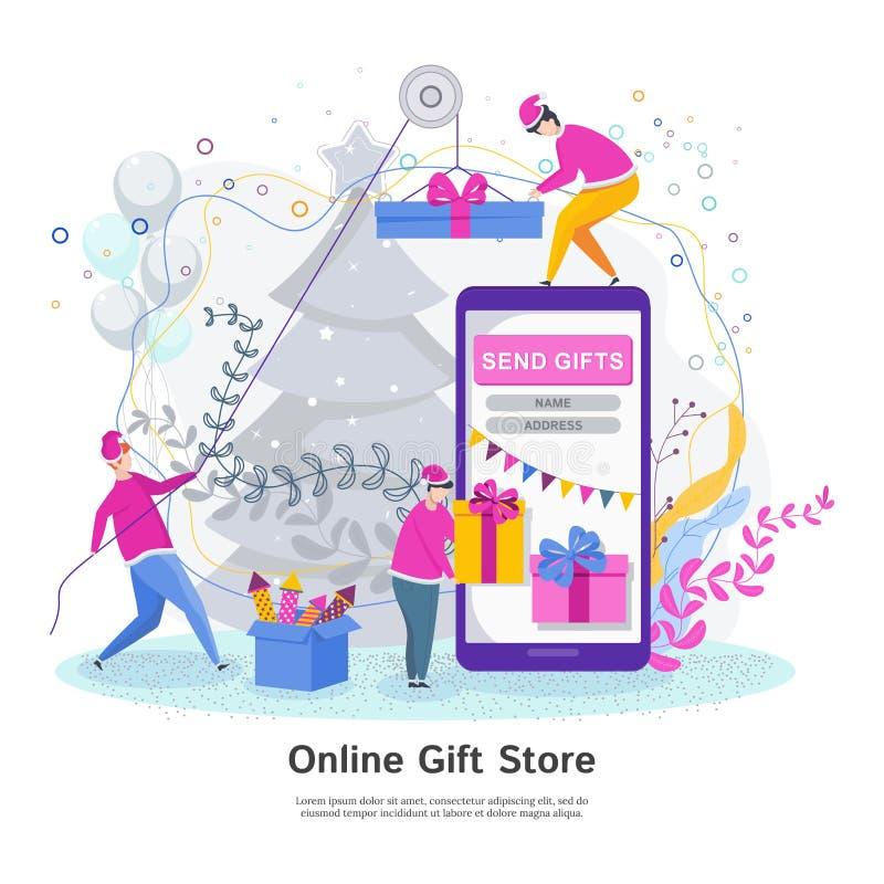 Modernes flaches Konzept des Entwurfes des on-line-Geschenkladens lizenzfreie abbildung
