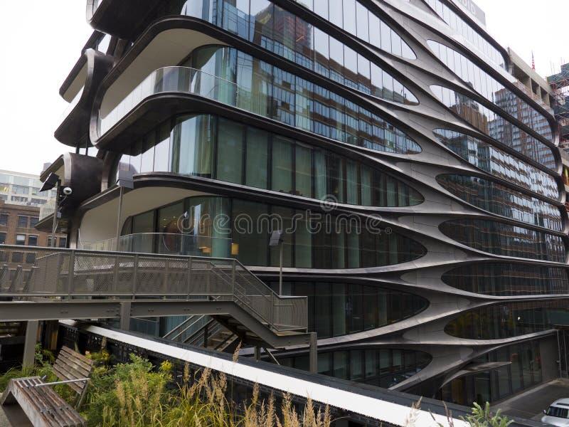 Modernes futuristisches schauendes errichtendes New York lizenzfreie stockfotos