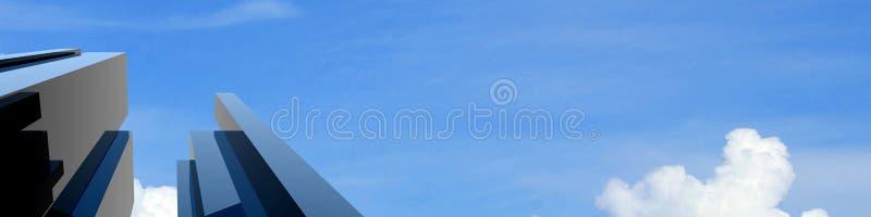 modernes Gebäude 3d auf einem Hintergrundhimmel vektor abbildung