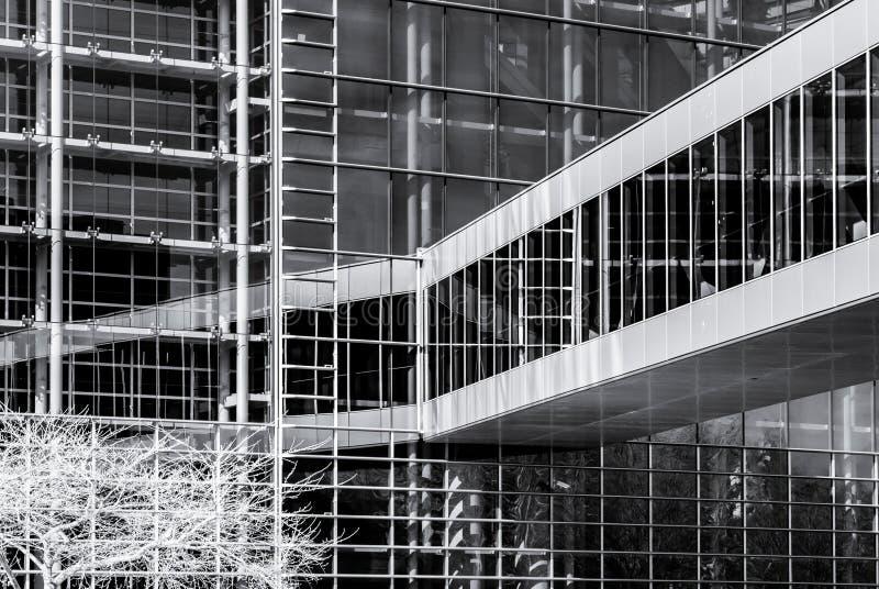 Modernes Gebäude vom Stahl und vom Glas, ummauern Infrarotansicht stockfoto