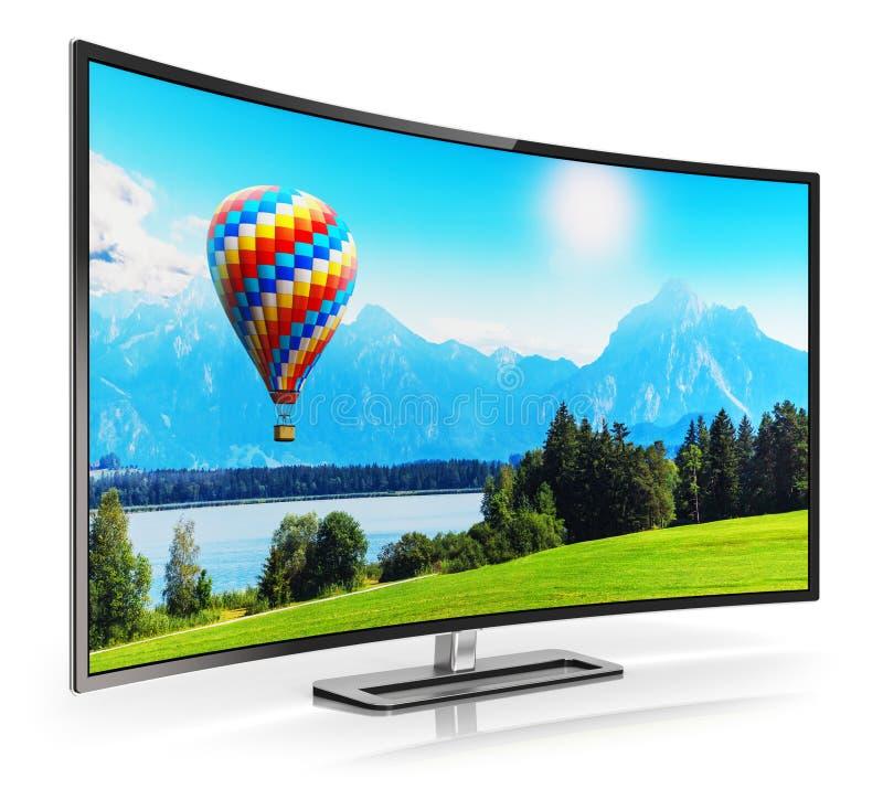 Modernes gebogenes 4K UltraHD Fernsehen vektor abbildung