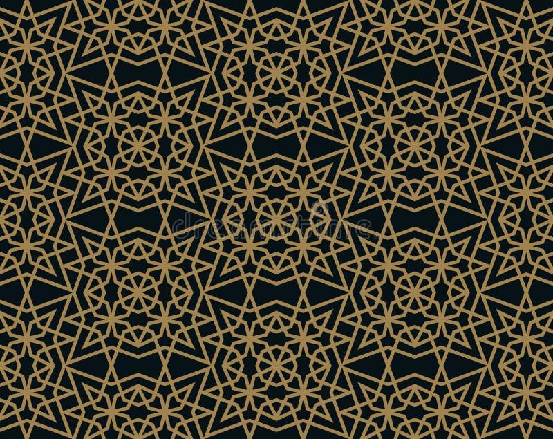 Modernes geometrisches Fliesenmuster des Vektors goldene gezeichnete Form Deco der abstrakten Kunst nahtloser Luxushintergrund vektor abbildung
