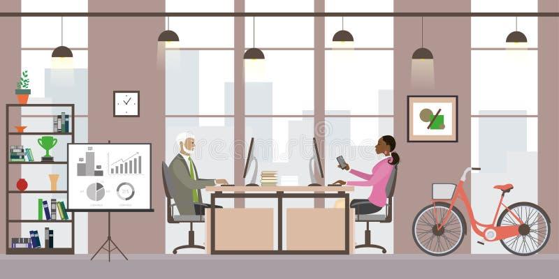 Modernes Geschäftslokal oder coworking Platz, Innenarchitektur mit f lizenzfreie abbildung
