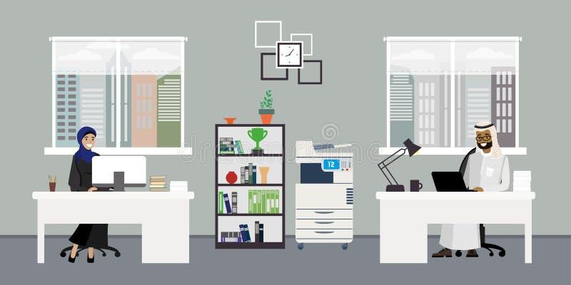 Modernes Geschäftslokal oder coworking Platz, Innenarchitektur mit f vektor abbildung
