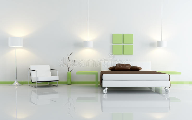 Modernes grünes und weißes Schlafzimmer lizenzfreie abbildung