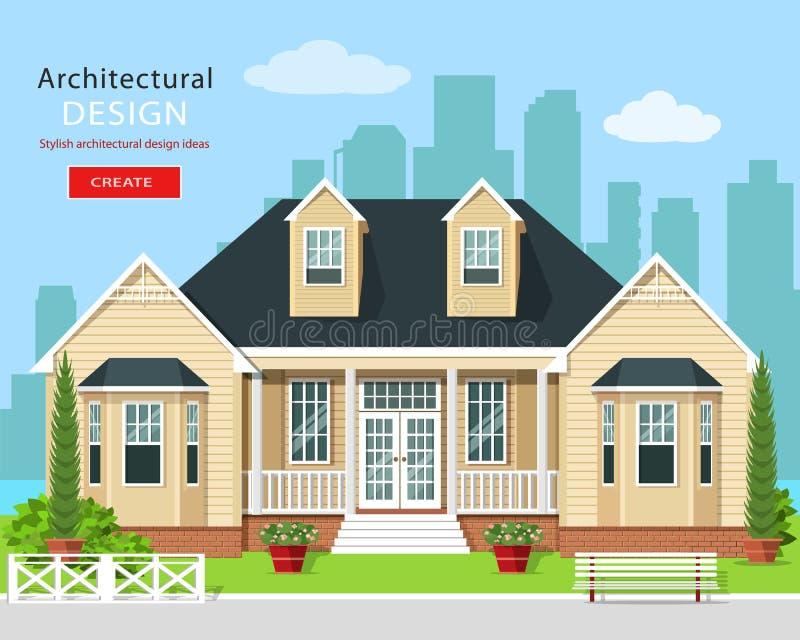 Modernes grafisches Privathaus mit Bäumen, Blumen und Stadtskylinen Grundbesitz? Häuser, Ebenen für Verkauf oder für Miete Stilvo vektor abbildung