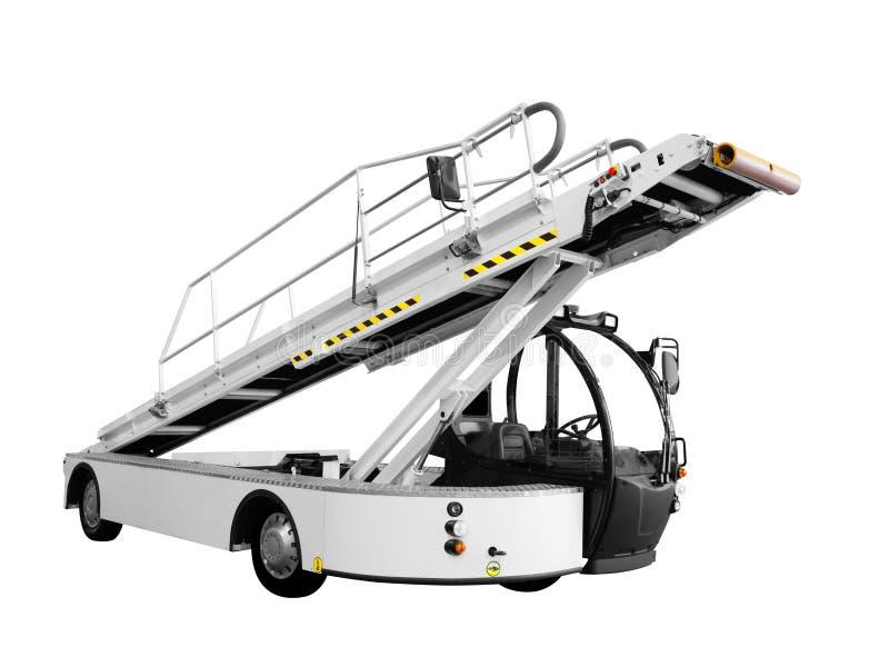Modernes Gurtladerautomobil des Gepäcks oder der Fracht im Flugzeug oder im Schiff oder in anderem Transport mit einer anhebenden stockbilder