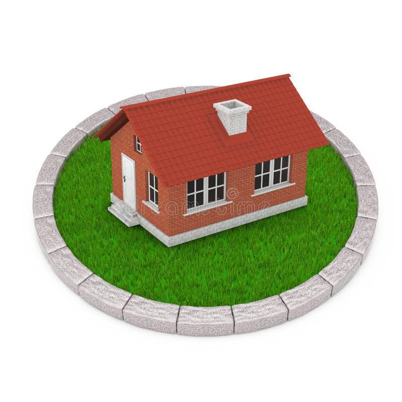 Modernes Häuschen-Haus mit Red Roof über rundem Plan von dichtem Gree lizenzfreie abbildung