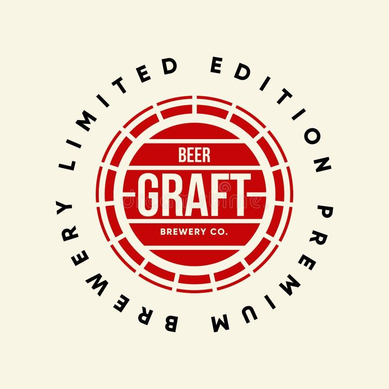 Modernes Handwerksbiergetränkvektor-Logozeichen für die Bar, Kneipe oder Brauerei, lokalisiert auf dunklem Hintergrund lizenzfreie abbildung