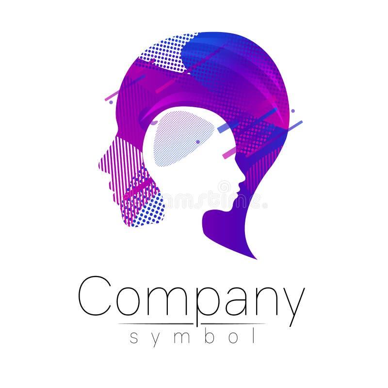 Modernes Hauptlogo der Firmenmarke Profil-Mensch Flüssige Art Firmenzeichen im Vektor Konzept des Entwurfes Steigungsflüssigkeit lizenzfreie abbildung