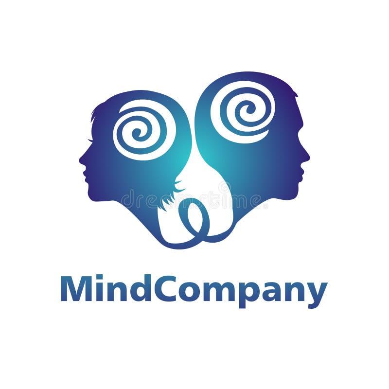 Modernes Hauptlogo von Psychologie Profil-Mensch Mann und Frau Firmenzeichen im Vektor Konzept des Entwurfes Markenfirma blau vektor abbildung