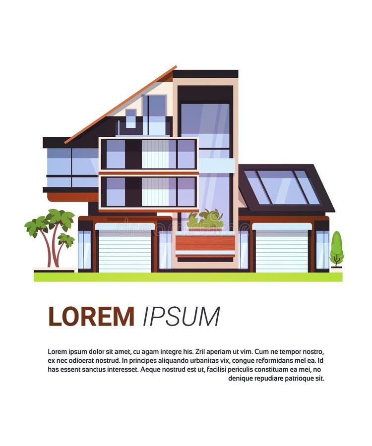 Modernes Haus Real Estate unterzeichnen Wohnungsbau-Design lokalisiert auf Hintergrund mit Kopien-Raum lizenzfreie abbildung
