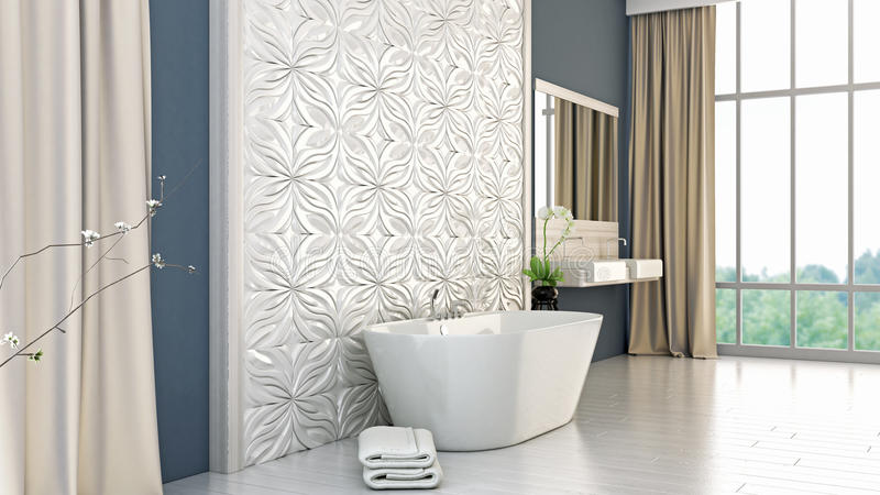 Modernes helles Badezimmer 3D übertragen lizenzfreie abbildung