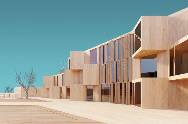 Modernes Holzmodell des Hauses 3d lizenzfreie stockfotos