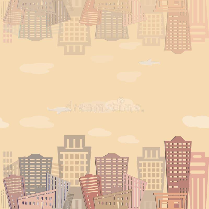 Modernes Immobilien-Gebäudedesign des nahtlosen Musters Stadtlandschaftsbeschaffenheit lizenzfreie abbildung