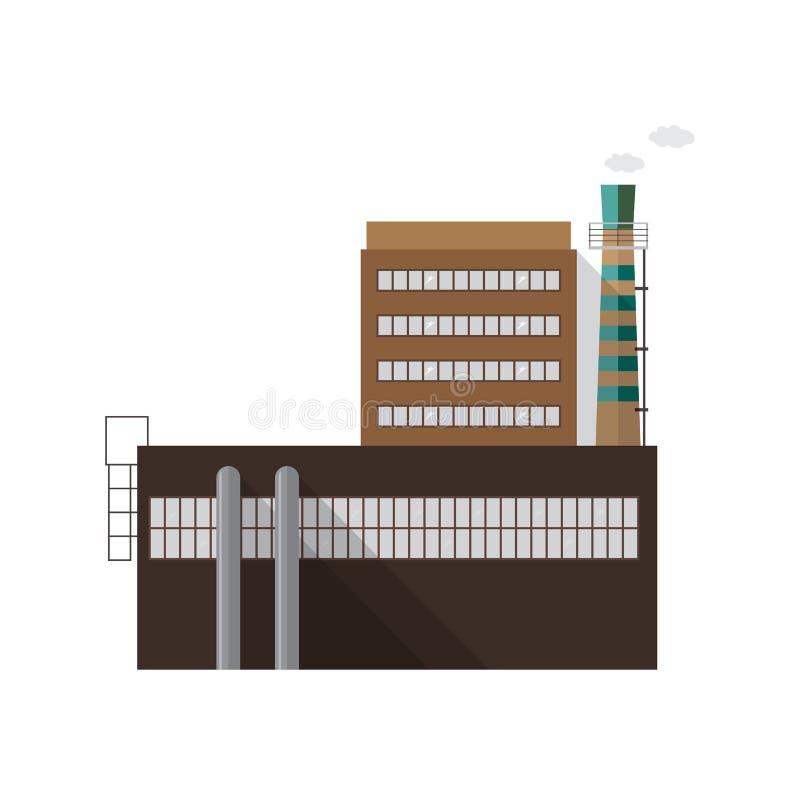 Modernes industrielles Fabrikgebäude mit dem Rohr, das den Rauch lokalisiert auf weißem Hintergrund ausstrahlt Fassade des Kraftw lizenzfreie abbildung