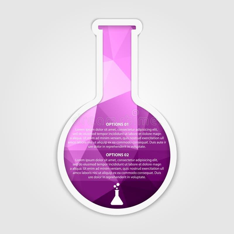 Modernes infographic auf Wissenschaft und Medizin in Form von Reagenzgläsern Vier Schneeflocken auf weißem Hintergrund vektor abbildung