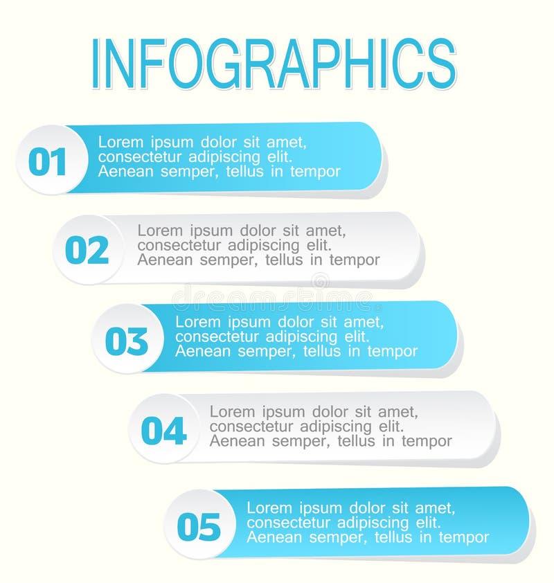 Modernes infographic Designschablonenblau und -WEISS lizenzfreie abbildung