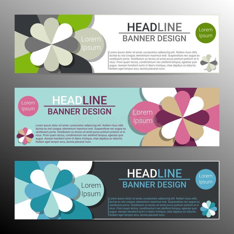 Modernes infographic Fahnendesign mit abstrakten Blumen Vektor lizenzfreie abbildung