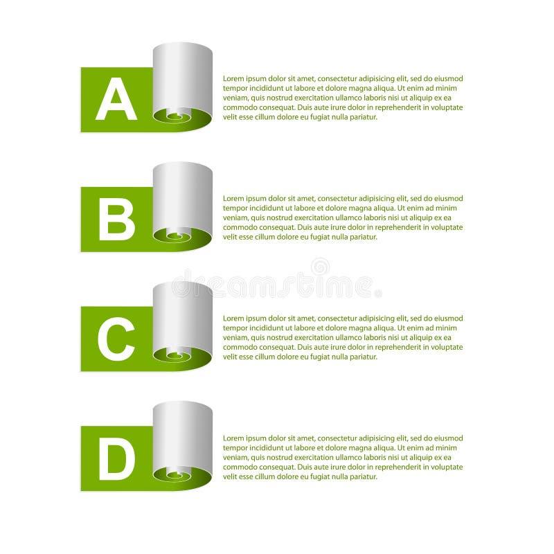 Modernes infographic Vier Schneeflocken auf weißem Hintergrund vektor abbildung