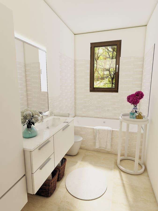 Modernes Innenbadezimmer mit Badewanne stockfotos