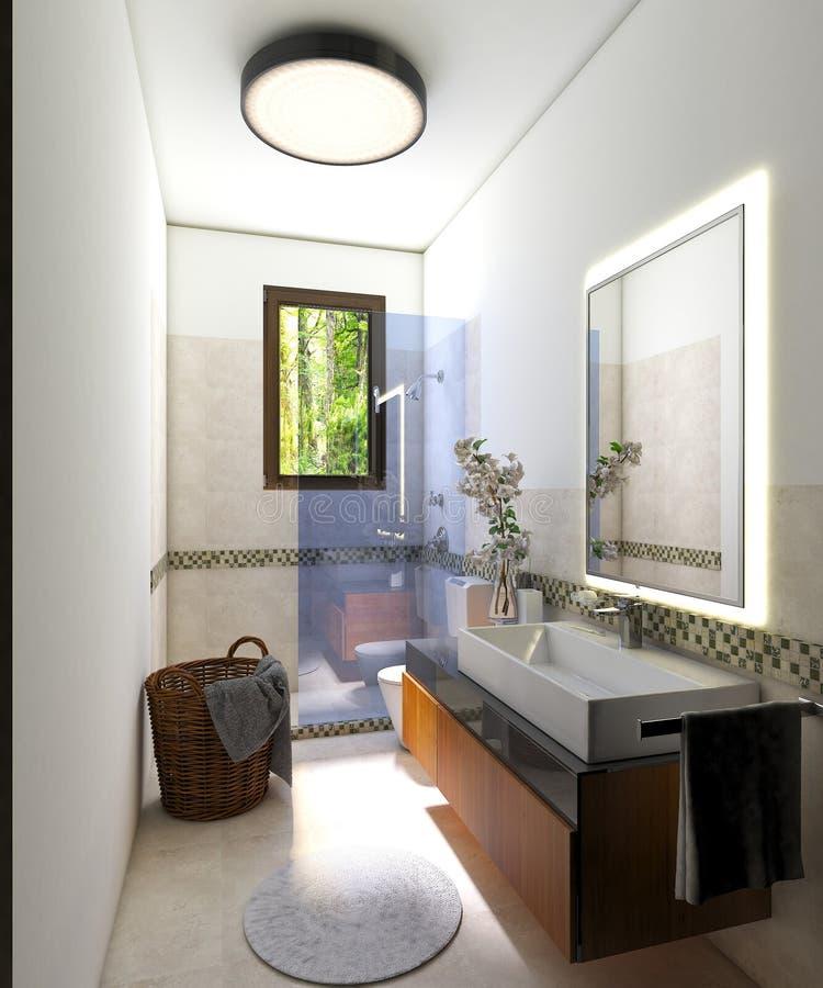 Modernes Innenbadezimmer mit Duschkabine lizenzfreie stockbilder
