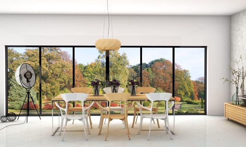 Modernes Innenlebendes und Speisen mit großen Fenstern stockfotos