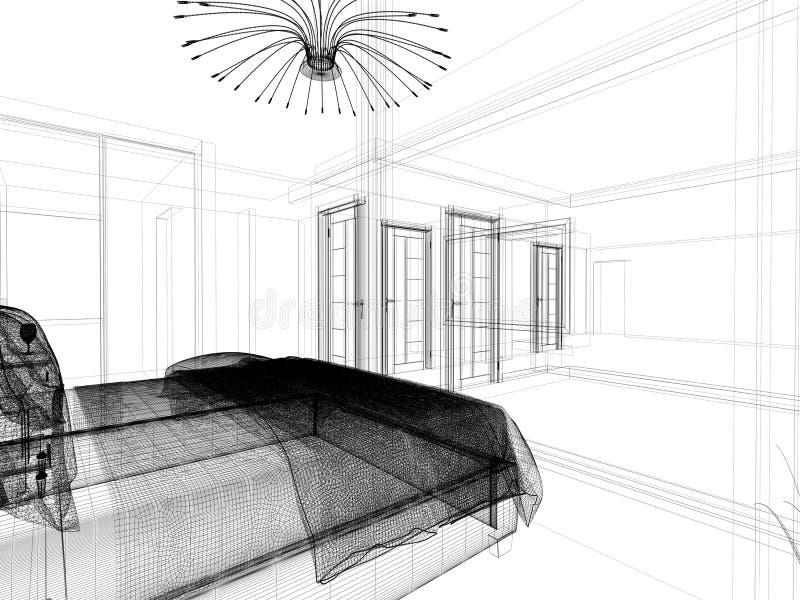 Modernes Innenschlafzimmer 3 d-Wiedergabe lizenzfreie abbildung