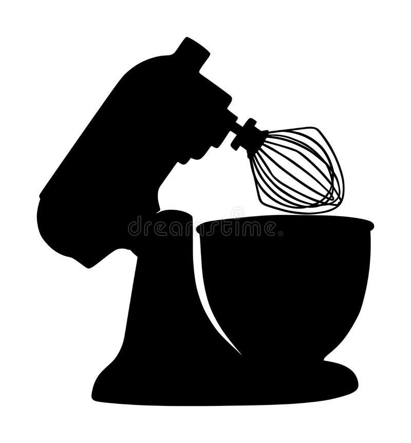 Modernes Küchenmischer-Vektorschattenbild lokalisiert auf weißem Hintergrund Ausrüstung für das Kochen und das Mischen auf Haus o lizenzfreie abbildung