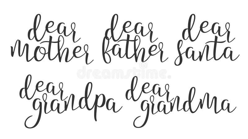 Modernes Kalligraphie-Tinten-Wort lieber Creative Vector vektor abbildung