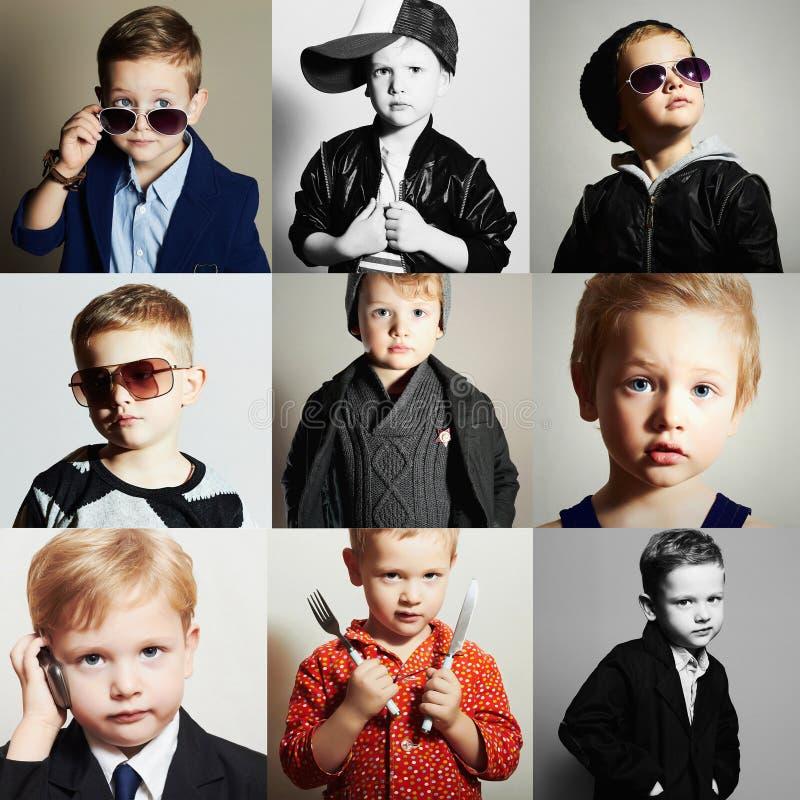 Modernes Kind Stattlicher kleiner Junge Schönheitsfarbcollage lizenzfreies stockbild