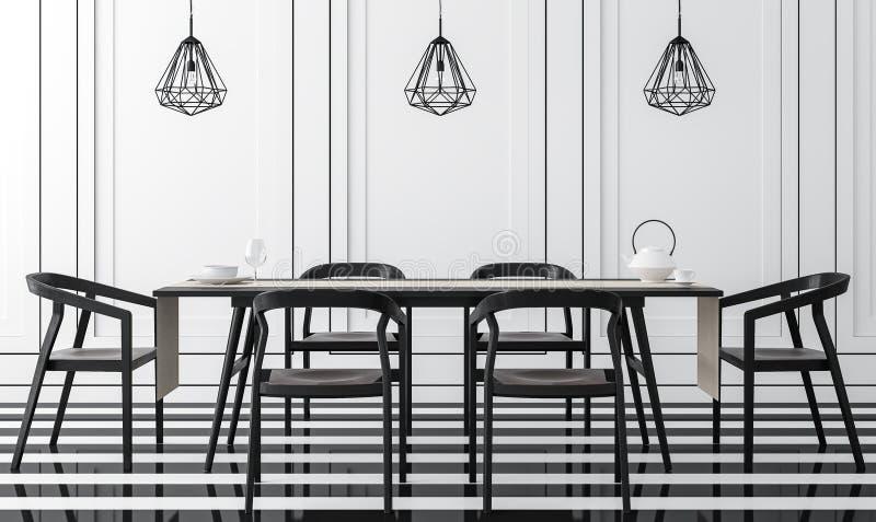 Modernes klassisches Esszimmer mit Schwarzweiss--Bild der Wiedergabe 3d stock abbildung
