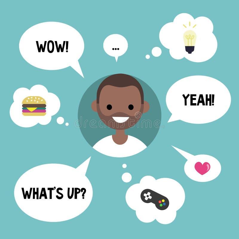 Modernes Kommunikationskonzept Der glückliche schwarze Kerl, der umgeben wird, indem er spricht und denkt, sprudelt vektor abbildung