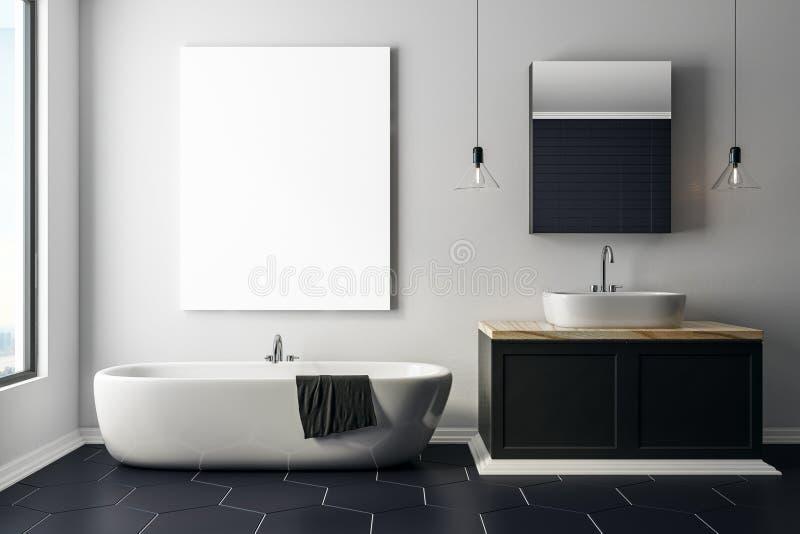 Modernes konkretes Badezimmer mit leerem Plakat vektor abbildung
