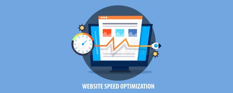 Modernes Konzept der Websitegeschwindigkeitsoptimierung, Rakete laden Websiteladengeschwindigkeit auf Flache Designvektorfahne lizenzfreie abbildung