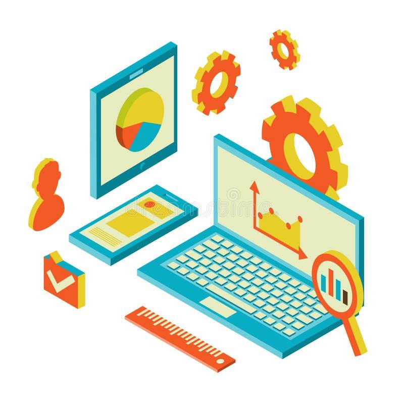 Modernes Konzept des isometrischen Designs von Website stock abbildung
