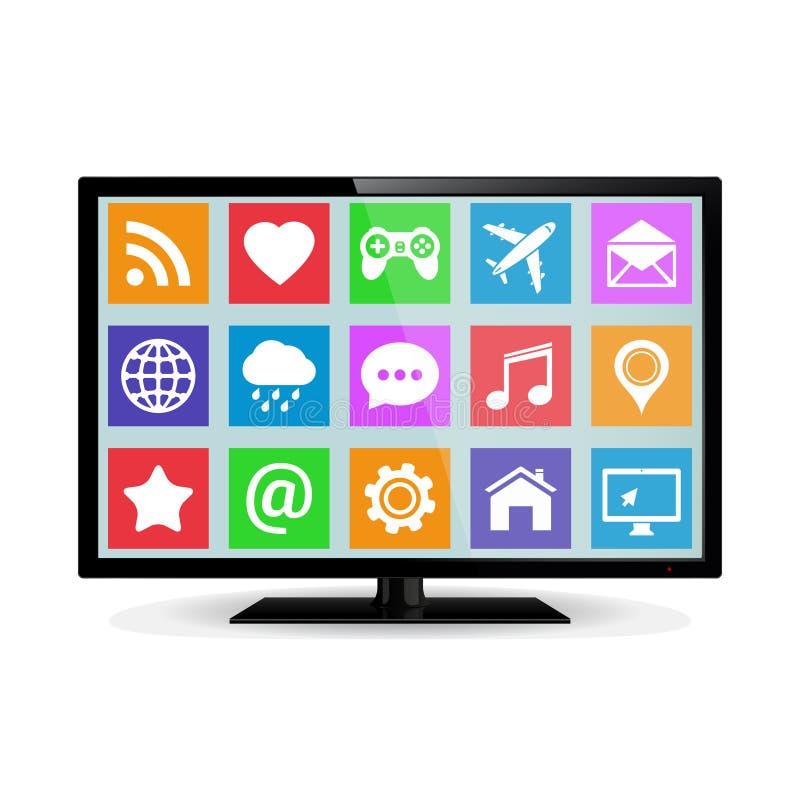 Modernes LCD-intelligentes Fernsehen mit Anwendungsikonen lizenzfreie abbildung