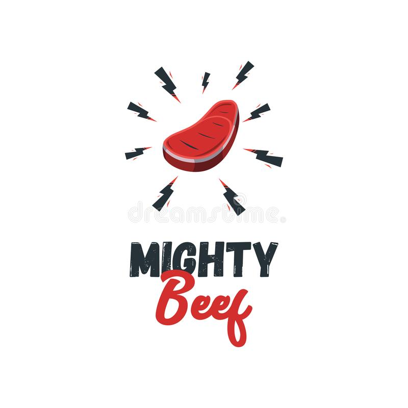 Modernes Lebensmittel Logo Design Template Vector Illustration Rindfleisch mit stock abbildung
