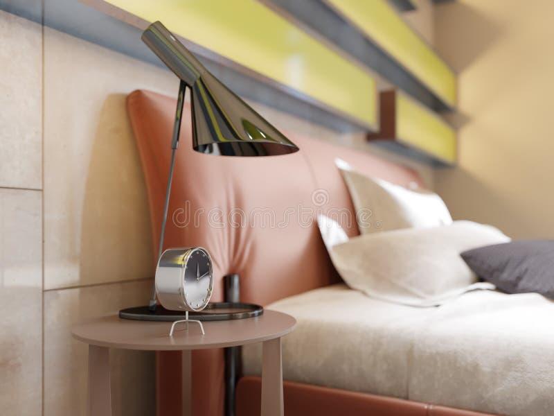 Modernes ledernes Bett mit Seitentabellen mit Lampen im zeitgenössischen Schlafzimmer Belichtete Regale, glatte Wände, Leder lizenzfreie abbildung