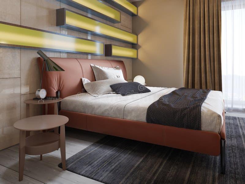 Modernes ledernes Bett mit Seitentabellen mit Lampen im zeitgenössischen Schlafzimmer Belichtete Regale, glatte Wände, Leder vektor abbildung