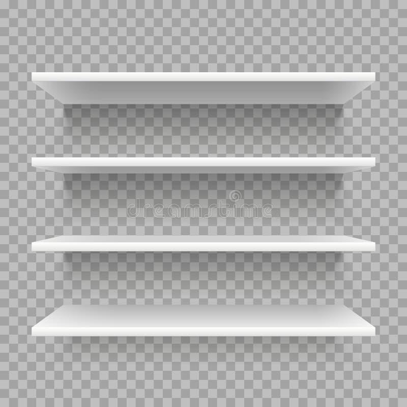 Modernes leeres Bücherregal 3d Einzelhandelsgeschäftregal auf Wand Weiße Regale mit Schattenvektorsatz vektor abbildung