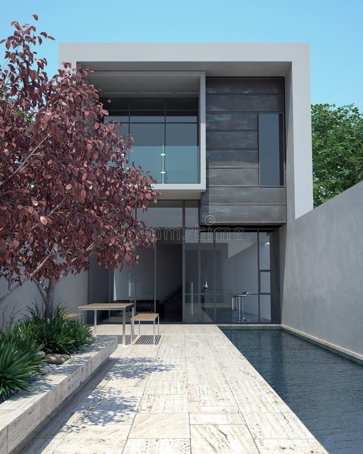 Modernes Luxuxhaus mit Pool lizenzfreie abbildung