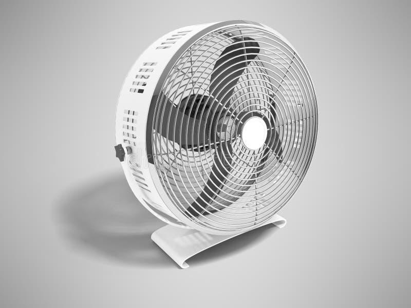 Modernes Metallgrauer Ventilator für das Abkühlen der großen Wiedergabe der Räume 3d auf grauem Hintergrund mit Schatten vektor abbildung