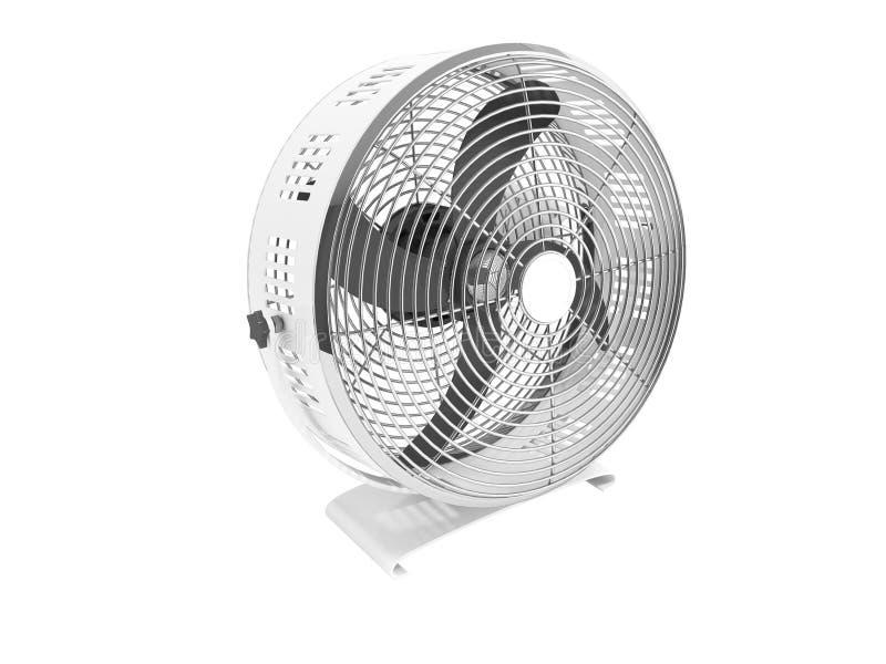 Modernes Metallgrauer Ventilator für das Abkühlen der großen Wiedergabe der Räume 3d auf weißem Hintergrund kein Schatten lizenzfreie abbildung